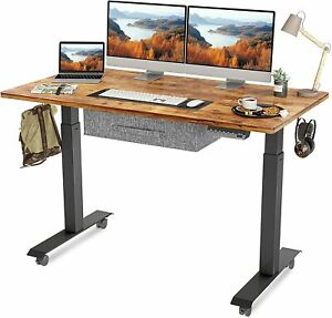 Fezibo Electric Height Adjustable Standing Desk With Drawer 55 X 24 Inches Spli