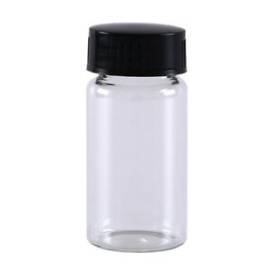 1x 20ml Small Lab Glass Vials Bottles Clear Containers With Black Screw Cap A J
