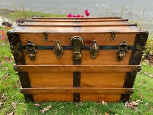 Antique Steamer Trunk Wood Chest Flat Top Wood Trunk Coffee Table