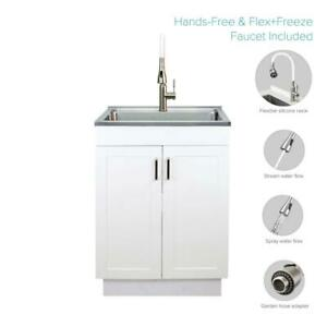 Transolid All In One 23 6 X 19 7 X 34 6 In Stainless Steel Utility Sink Cabinet