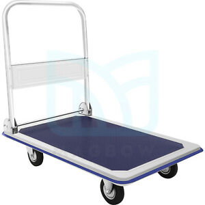 330lbs Platform Cart Dolly Foldable Moving Cart Flatbed Hand Truck For Warehouse