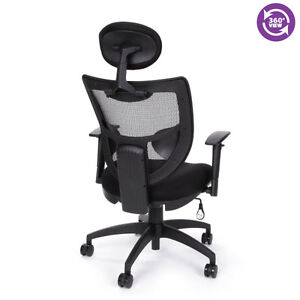 New Ofm 580 Comfy Seat Executive Black Mesh Office Chair With Headrest And Ergon