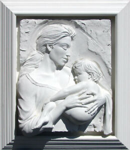 Bill Mack Devotion Bonded Sand White Frame FANTASTIC WALL SCULPTURE ART