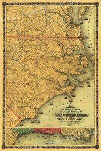 Colton S 1861 Map Of The State Of North Carolina 24x36