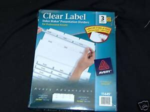Avery 11445 Clear Label Dividers 3 Tab Free Shipping