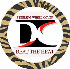 Zebra Tan Velvet Steering Wheel Cover