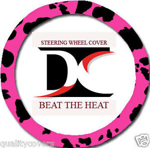 Nice Steering Wheel Cover In Cow Pink Blk Goodquality