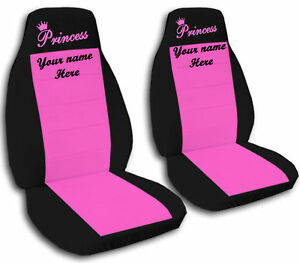 2 Front Black And Hot Pink Princess Seat Covers With Your Name