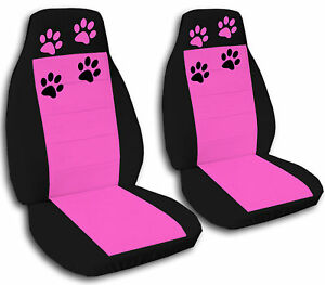 A Pair Of Car Seat Covers In Blk pink W Cute Paw Prints