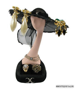 Black Hat Earring Ring Jewelry Display Stand Holder E