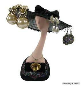 Black Hat Earring Ring Jewelry Display Stand Holder F
