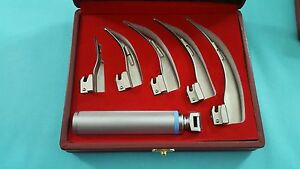 Set Of 5 Laryngoscope Macintosh Mac Intubation Blades Medium Handle Anesthesia