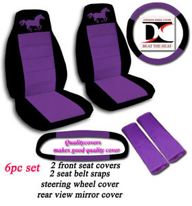 6 Piece Black And Purple Horse Seat Covers Universal Size