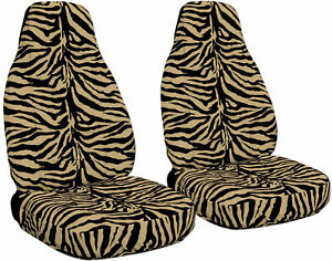 2 Front Zebra Tan Seat Covers Fits Honda Accord