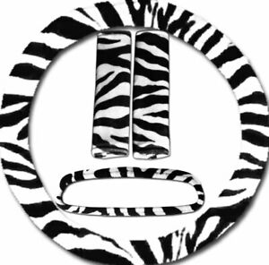 4 Piece Set Zebra White Steering Wheel Cover 2 Seat Belt Covers Mirror Cover