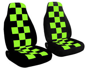 2 Front Black And Lime Green Checkered Seat Covers Universal Size