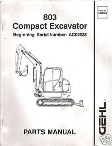 Gegl 803 Compact Excavator Parts Manual