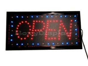 Big Bright Led Open Sign Red blue Flash ac op3