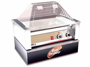 Hot Dog Roller Grill 10 Hotdogs W Sneeze Guard Bun Box