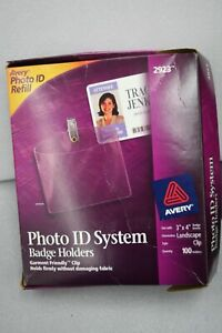 Avery 2923 Photo Id System Refill Badge Holders With Garment Friendly Clip 3 X 4