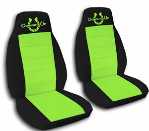 2 Front Black And Lime Green Cowgirl Up Seat Covers