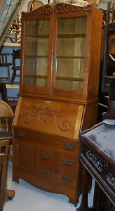 Early 1900 S Quartersawn Oak Drop Front Secretary Hutch Dr11