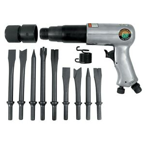 250mm Long Barrel Air Hammer With 9 Piece Chisel Set Mtn7330 Brand New