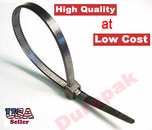 1000 Pcs 11 Black Zip Cable Wire Tie 120 Lbs Zip Nylon Secure Fasten Assembly