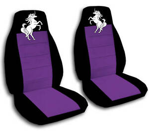 2 Front Black And Purple Unicorn Seat Covers Universal Size