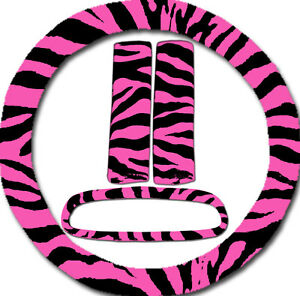 4pc Set Pink Zebra Steering Wheel Cover seat Belt Cover mirror Cover Nice Gift
