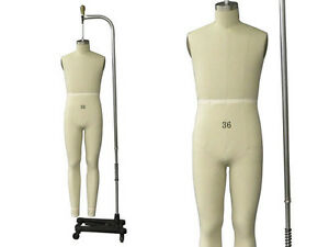 Professional Pro Working Male Dress Form mannequin full Size 36 W legs