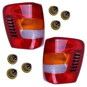New Pair Tail Lights Left Right With Sockets Bulbs Fits 99 04 Grand Cherokee