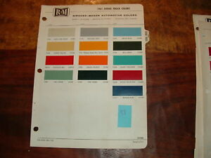 1961 Dodge Truck Paint Chips By Rm Products