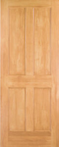 Clear Pine 4 Panel Flat Mission shaker Staingrade Solid Core Interior Wood Doors
