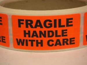 Fragile Handle With Care 1x2 Warning Stickers Labels Fluorescent Red 250 rl