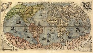 1565 Exploration World Map Large Terra Wall Print 24x42