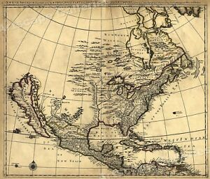 1680s Early Map Of North America New Mexico English Empire 20x24