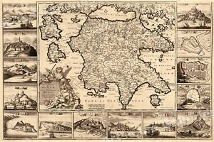 1688 Greek Islands Historic Ancient Greece Map 24x36