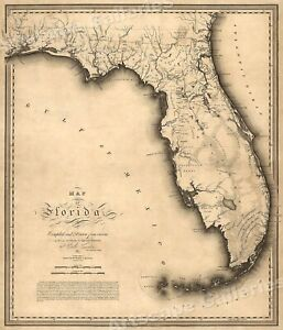 1823 Map Of Florida By Charles Vignoles 24x28