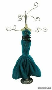 Teal Green Dress Mannequin Jewelry Holder Stand Nib