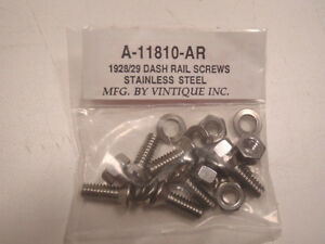 Ford Model A Dash Rail Screws Kit Stainless Steel 1928 1929