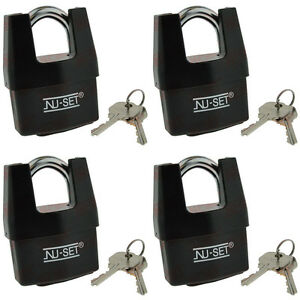 4 Keyed Alike Shrouded Padlock W Weatherproof Cover 2 1 2 64mm By Nu set