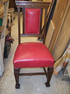 Oak Gothic Carved Sidechair Entry Chair Red Leather Sc114