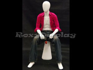 Fiberglas Mannequin Manikin Dress Form Clothing Egg Head Sitting Display kw15d