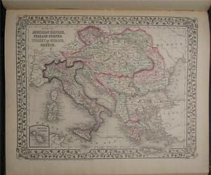 1874 Antique Mitchell Map Austria Italy Turkey Greece