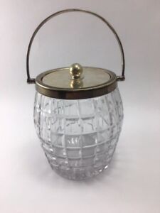 Antique Biscuit Barrel Ice Bucket W Hutton Sons Crystal Waffle Silver Plate