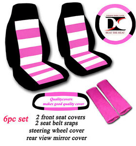 6 Piece Set Black Seat Covers With White And Hot Pink Stripes