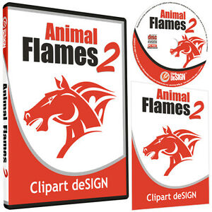 Animal Flames 2 Clipart vinyl Cutter Plotter Images eps Vector Clip Art Cd