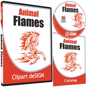 Animal Flames Clipart vinyl Cutter Plotter Images eps Vector Clip Art Cd