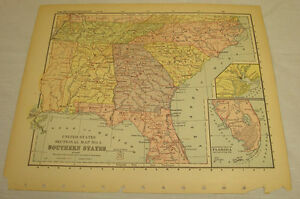 1896 Color Map Of Southern States Of Al Fl Ga Nc Sc Tn